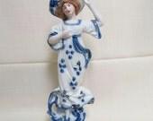 Antique Flow Blue Woman Figurine Victorian Porcelain Hand Painted Gold Gilt