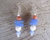 Beach glass earrings, white carved coral earrings, tropical jewelry, beach earrings, island wedding