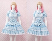 Blue Princess Dress, Blue Polka Dot Dress, Alice In Wonderland, Victorian Dress, Fairy Princess Dress, Lolita Dress, Elegant Dress