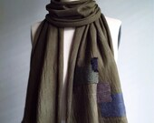 Patch bandage scarf in khaki green