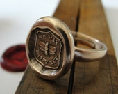 Bee Wax Seal Ring - antique wax seal jewelry We May Be Happy Yet motto with honey bee by RQP Studio