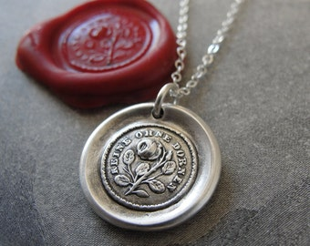 Wax Seal Necklace Not Without Thorns antique wax seal jewelry Rose Motto by RQP Studio