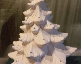 "16 .5"" Ceramic Christmas tree, Vintage Christmas tree, Table Top Tree, Ceramic bisque, Ready to paint,u-paint"