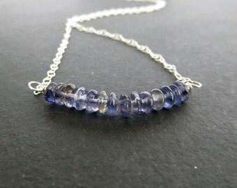 Iolite Necklace, Iolite Bar Pendant, Blue Gem Necklace, Navy Blue Necklace, Bridesmaid Gift, Iolite Jewelry, Sterling Silver Jewellery UK