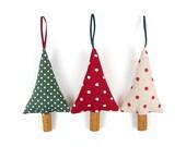 Woodland Christmas Tree Ornaments Rustic Polka Dot Cinnamon Christmas Decorations Set of Three