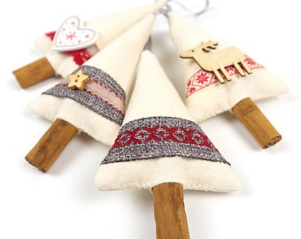 Primitive Country Christmas Rustic Decor Cinnamon Stick Christmas Tree Decoration Hostess Gift
