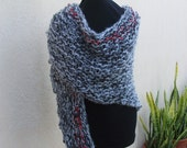 Gray and Black Knit Wrap--Bloodline Knit Shawl