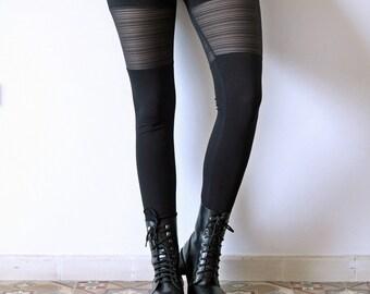Funky Sheer Leggings, Black Leggings, Goth Leggings, Festival Leggings, Urban leggings, Yoga leggings