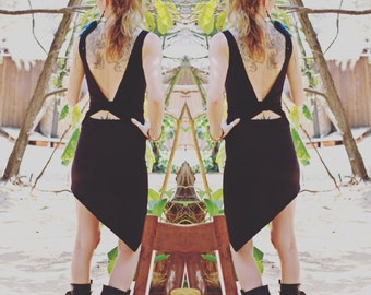 Asymmetrical dress, Open back dress, Wrap dress, Pixie dress, Little black dress, Made to order