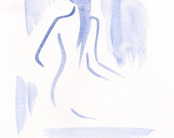 Nude figure from back view in few lines. Original watercolor sketch. Blue figure drawing.