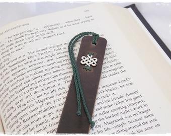 Endless Knot Bookmark, Leather Bookmark, Infinity Knot Bookmark, Mystic Knot Bookmark, Celtic Knot Bookmark, Shrivatsa Bookmark, Norse Gift