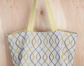 Infinity Tote Bag- Christmas Present- Linen Tote bag- Chartreuse and Grey Tote- by beckyzimmdesign