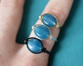Ring of Protection - +2 Mana - Deep Blue Ring - Apatite Gemstone Wire Wrapped Ring - Throat Chakra - Made to Order