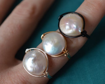 White Pearl Ring - Wire Wrapped Coin Pearl - Blue Purple Green Pink Iridescent - Made to Order
