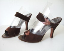 UK 3.5 Vintage 1950s brown suede copper diamante mules evening shoes high heels