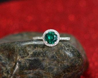 Green Emerald Engagement Ring & Diamonds Round Halo Crios Light Diamod Cut 1ct 6mm Custom Size White-Yellow-Rose Gold-10k-14k-18k