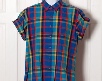 Awesome Colorful Men's Short Sleeve Button Shirt - Savile Row Traditions - L