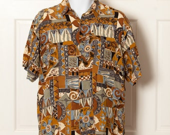 90s Wild Pattern Short Sleeve Button Shirt - NATURAL ISSUE - M