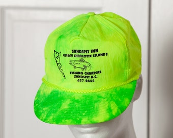 Neon Green Yellow Nylon Trucker Hat - Sandspit Inn Queen Charlotte Islands - fishing - adjustable back