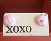 Button Earrings - Pink Earrings - Post Earrings - Fabric Earrings - OOAK - Ready to Ship