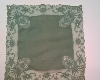 Vintage Sage Green Linen Hanky with Wide Lace Trim All Around Edges - Lacey Hankie Handkerchief