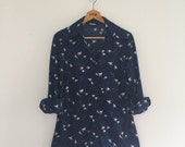 Vintage 70's Disco Bird Print Shirt / Navy Nylon Button Up Shirt L