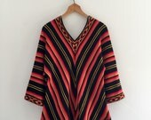 Vintage 70's Chevron Sweater / Hippie Bohemian Bell Sleeve V-Neck L