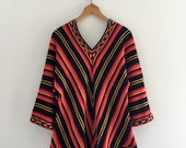 Vintage 70's Chevron Sweater / Hippie Bohemian Bell Sleeve V-Neck L