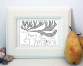 Original line drawing pen drawing home decoration gift idea black and white DEERS small decorative sketch by Elisaveta Sivas 3,25 x 4,75'