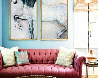 Horse painting on canvas original oil painting WHITE HORSE large painting
