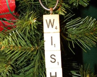 Wish Scrabble Ornament 7431