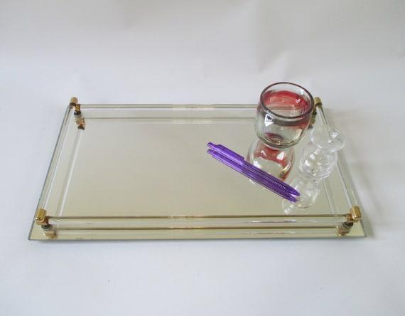 Vintage Mirrored Glass Vanity Tray Vintage Toledo Plate