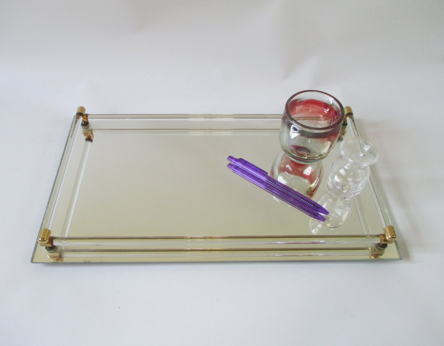 Mirrored glass vanity tray vintage toledo plate by hobbithouse for Mirrored bathroom tray