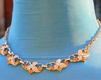 orange rhinestone necklace