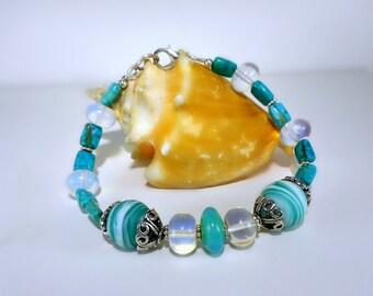 Green, Teal, Aqua &White Bracelet, Czech Glass, Opalite, Lg Bali Artisan Silver caps, Vivid Spring colors, women's gift under 45, Sterling