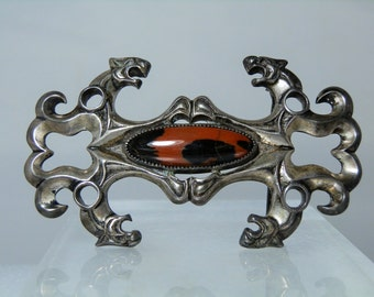 Vintage Signed Sand Cast Belt Buckle Jasper Sterling Silver Lions Head Designs Exceptional Handcraft DanPickedMinerals