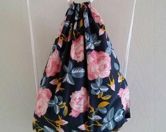 Adult size Floral Corduroy Drawstring Backpack