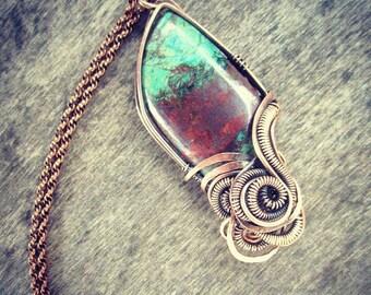 Chrysocolla Cuprite Copper Wire Wrap Pendant