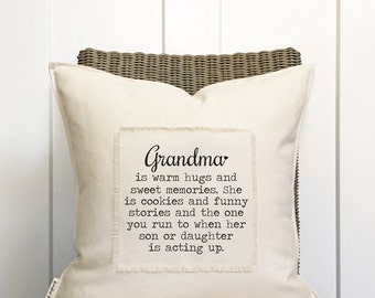 """18"""" Grandma Is Pillow - Funny Grandma Pillow - Gift for Grandma - Scrappy Frayed Pillow Cover - Cotton Canvas - Loop and Toggle Closure"""