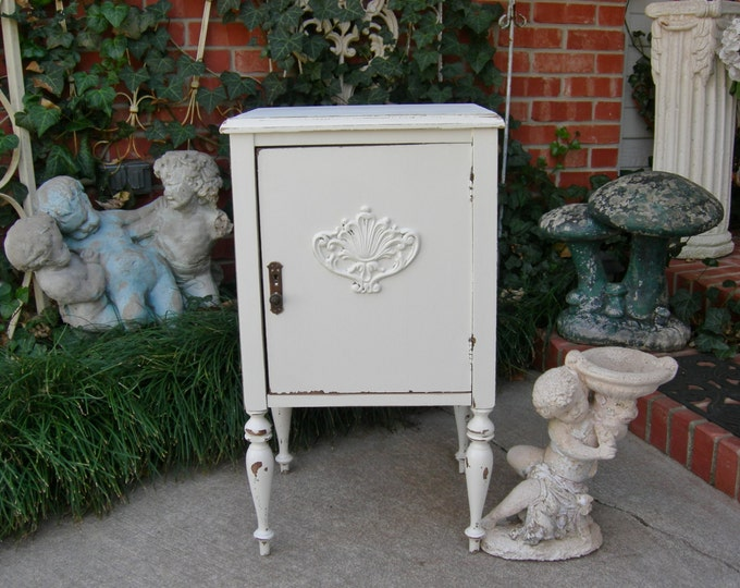 Antique Nightstand Shabby Chic Painted Custom Restored Modified and Refinished