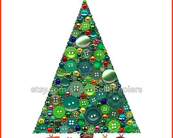 Button Art Christmas Tree Jewelry Christmas Tree Decor Christmas Decoration Holiday Decor Christmas Ornament