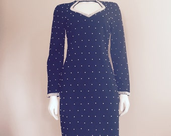 Pearl Dress / 1980s / Black White / LBD / Bodycon Dress / High Fashion