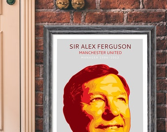 Alex Ferguson Pop Art Print Portrait Poster.