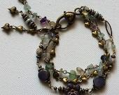 Purple Bracelet Green Bracelet Heart Stone Rainbow Flourite Flower Bracelet Triple Strand