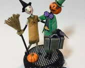 Halloween decoration , one of a kind , pumpkin man holding vintage suitcase and witch ,  , art doll sculpture , Halloween collectible