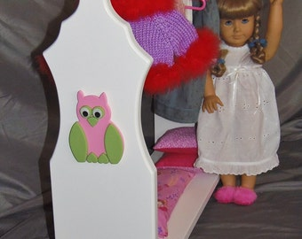 "Doll Clothes Organizer perfect for American Girl Doll and 18"" dolls with handmade wooden owl appliques"