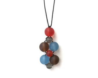 Nursing Necklace/ Breastfeeding Necklace - Twiddle Cluster - Autumnals - Red, Brown, Grey Blue