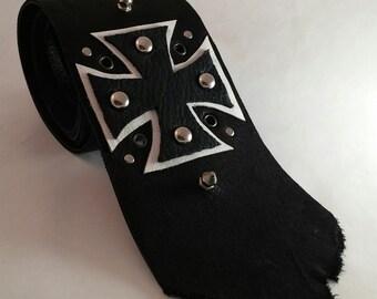 Black Necktie   Mens Black Tie   Mens Neckties   Black Ties for Men   Cool Ties   Unique Mens Ties   Leather Necktie   Black & White Tie