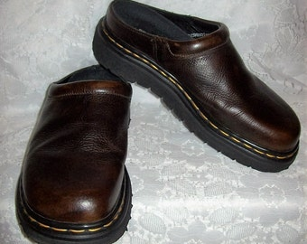 Vintage '90s Ladies Brown Leather Clogs Slip Ons by Dr Marten UK Size 6 Only 22 USD