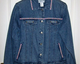 Vintage Ladies Bead Trimmed Blue Jean Denim Jacket by Pendleton Medium Only 15 USD